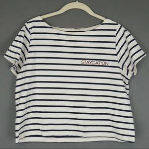 Madewell Striped Embroidered Staycation Boxy T